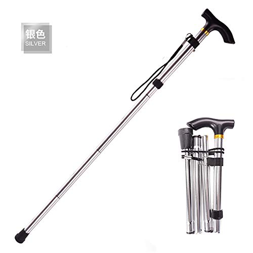 Fullgaden Upgraded Version Hiking/Trekking/Camping Stick&Pole Foldable, Portable, Adjustable Hand Walking Cane, Mountaineering Crutches Outdoor for Men, Women, Silver