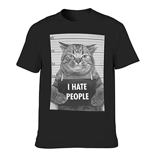 I Hate People DAS CAT 3D Grafik gedruckt Mehrere Muster Sportswear T-Shirt für Freunde Black 4XL