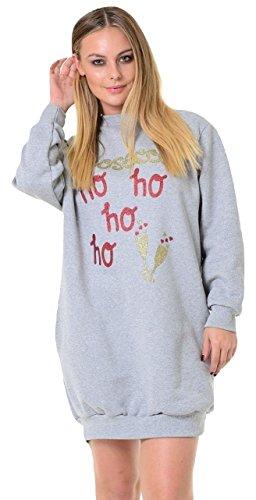 Momo&Ayat Fashions Dames Prosecco Ho Ho Ho Ho Ho Kerstmis Glitter Sweatshirt UK Maat 6-16