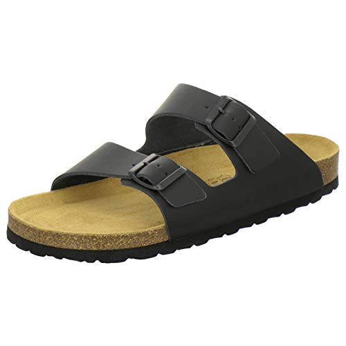 AFS-Schuhe 3100 Bequeme Pantoletten für Herren Leder, Hausschuhe Arbeitsschuhe, Made in Germany (47 EU, Schwarz)