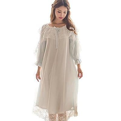 Women's Victorian Nightgown Vintage Sleepwear Lace Robe Chemise Lounge Dress Pajamas