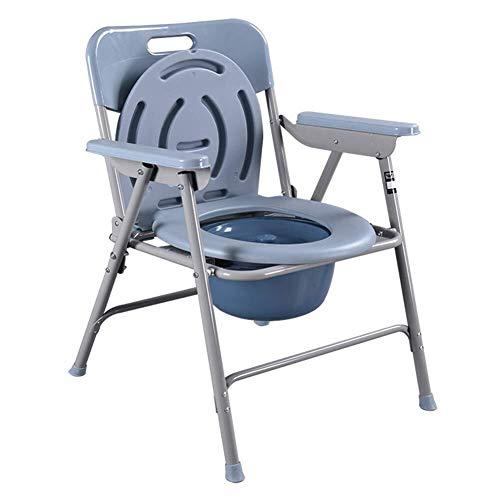 YAeele Antideslizante Silla WC Sencilla con Respaldo Plegable Silla insignificante portátil del Inodoro móvil for soportar 150 kg de Edad Avanzada Adecuado para baño.