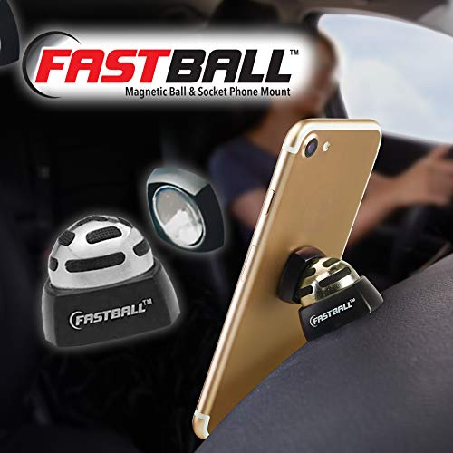As Seen On TV Fastball Magnetic Car Cell Phone Mount / Holder by BulbHead – Universal 360 Degree Car Dashboard Cellphone Holder - Swivel to Perfect Viewing Position