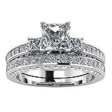 OVINEE Jewelry Anillo de Cristal de Pareja para Mujer,Anillo de Plata de con Estilo y Elegante Mujeres 8*Tallas (Plata, 7)