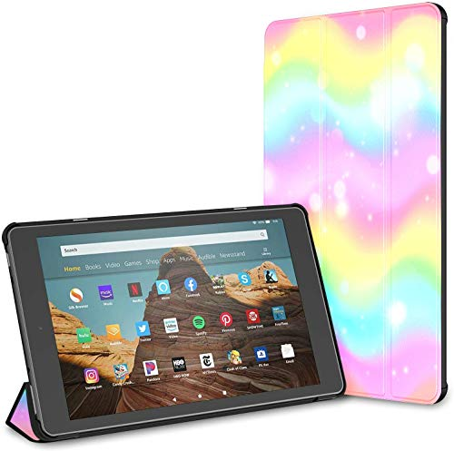 Case For All-new Amazon Fire Hd 10 Tablet (7th And 9th Generation,2017/2019 Release),slim Folding Stand Cover With Auto Wake/sleep For 10.1 Inch Tablet, Unicorn Rainbow Wave Mermaid Galaxy