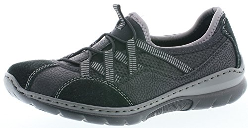 Rieker L3251 Damen Slipper, Mokassins, Halbschuhe, Trekking Schuhe, Memosoft-Decksohle schwarz (schwarz/schwarz/schwarz/schwarz / 00), EU 37