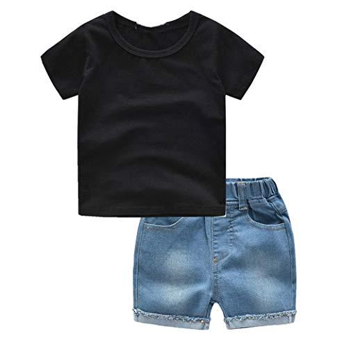 sunnymi  0 – 4 años niños bebé niño niña Dibujos Animados Tops Camiseta Shorts Outfits Set Negro B 2-3 Años