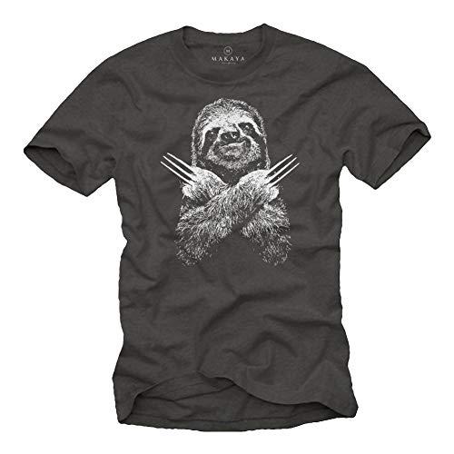 MAKAYA Lustige T-Shirts für Männer - Faultier Sloth - Kurzarm Rundhals Grau Geschenke Jungen/Kinder/Jungs/Herren Größe XXXXXL