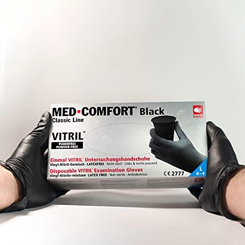 100 Stück Vitrilandschuhe Vinyl-Nitril in Spender-Box - schwarz - Einweghandschuhe Einmalhandschuhe (L)