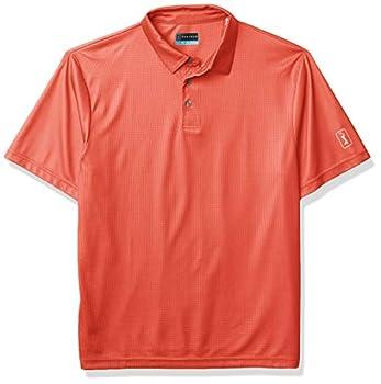 PGA TOUR Men s Standard Printed Gingham Short Sleeve Polo Golf Shirt Cayenne Large