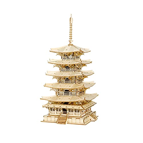 Rolife Madera Puzzle 3D Torre Pagoda de cinco pisos Maquetas para Montar para Construir Adultos Niñas Gatto fortunato, Five-storied Pagoda