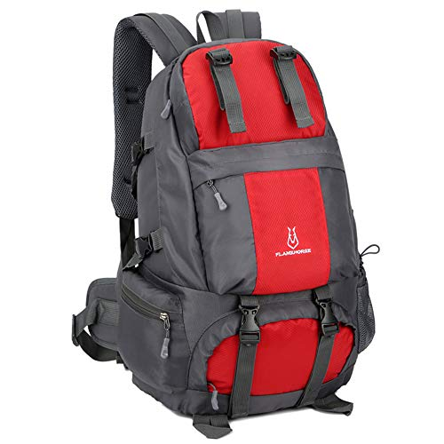 Lixada hiking backpack 50L waterproof trekking backpacks with shoe compartment for climbing camping mountaineering red