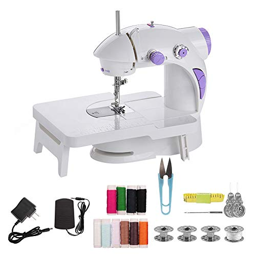 CABINA HOME Máquina de coser mini eléctrica con mesa de extensión, pedal, máquina de coser, portátil, rápida y manejable, máquina de coser manual con accesorios