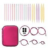 Coopay Kit de agujas circulares intercambiables con funda de piel rosa, 10 pares de agujas de doble punta de punto de 3,75 mm a 10 mm, con tubo de goma, agujas redondas para las ferventes del tejido