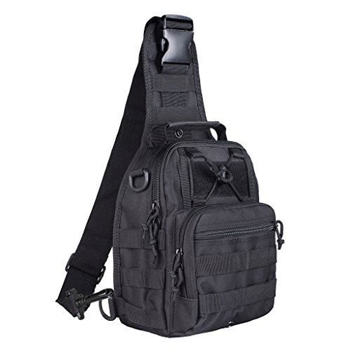 Qcute Oxford Fabric Multifunctional Unisex Chest Shoulder Satchel Bag,Tactical Sling Pack/Camping Shoulder Pack,Fit for iPod, iPad,iPhone 6 6Plus,MP3,S6 Android Smart Phone (Black)