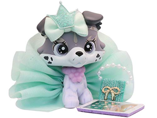 lpsloverqa Collie and Shorthair Cat OOAK Custom Figure Pets Collection with Accessories Kids Boys Girls Gift Set (Grey)