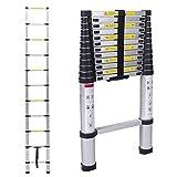 Escalera telescópica, multiusos, de aluminio, telescópica,Extensión telescópica de aluminio Escalera multifunción, extensible, 330 lb / 150 kg Negro plegable, (3,2m)