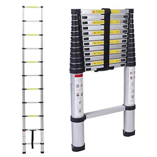 Échelle télescopique en aluminium pliable 3,2m - Capacité de charge de 150 kg,Distance entre les marches (échelle déployée): 30 cm (3.2m)