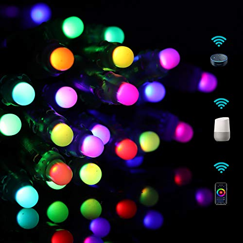 Christmas String Lights WiFi Smart Holiday Décor Lights Work with Echo Alexa Google Assistant Remote Control Multi Colors Dynamic Modes Music Sync UL Listed Adaptor Outdoor IP65 50LEDs,33FT(SSL1)