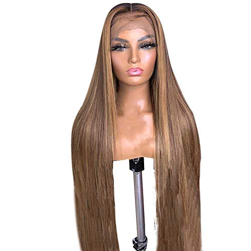 Peluca Mujer 13X6 150% Invisible Highlight   Color Straight Lace Front Pelucas de cabello humano para mujeres Indian Remy Closure Preplucked Lace Wig