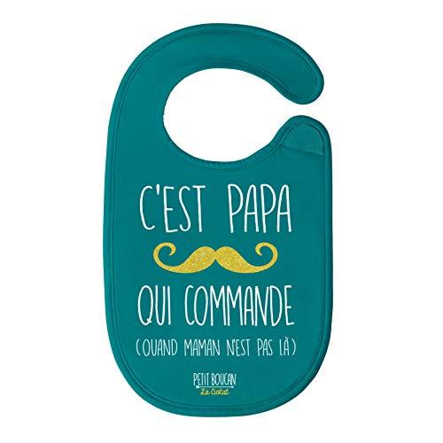 Petit Boucan'c'est papa qui commande' - bavoir bébé unisexe -100% coton doux - doublé en éponge coton très absorbant en Bleu Canard