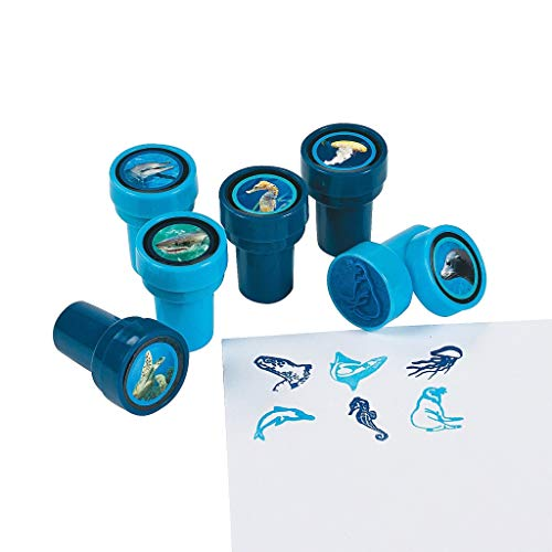 Elfen und Zwerge - Stempel Meerestiere - Stempelset für Kinder - Delfin, Robbe & andere Tiere - selbstfärbend - als Mitgebsel - 6 Stück