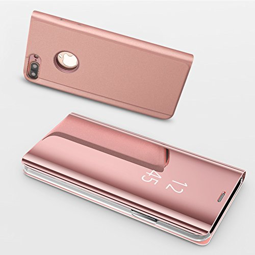 HUDDU Schutzhülle für iPhone 6S Hülle Rosegold Flip Slim Handyhülle Leder Tasche Clear Wallet Case Cover Build-in Stand Überzug Mirror Hardcase für iPhone 6 / iPhone 6S 4.7
