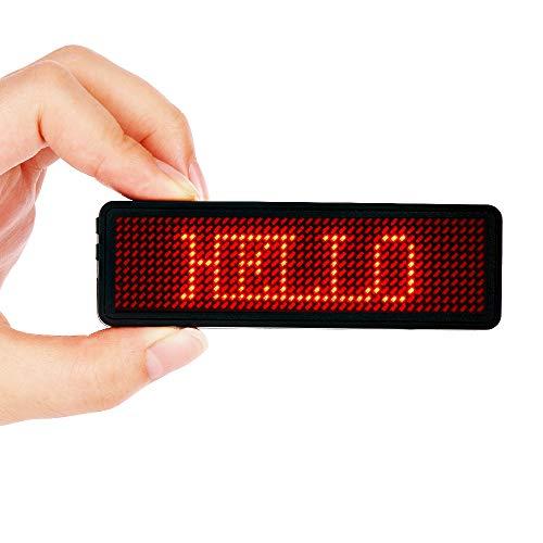 Namensschilder, VADIV LED-Namensschild Digital-Rollbalken Wiederaufladbare Büro Megnetic Leuchtschild, MicroUSB Programmierung Digital Sign 11x44Dots mit Magneten und Stift, freies Laufwerk (Rot)