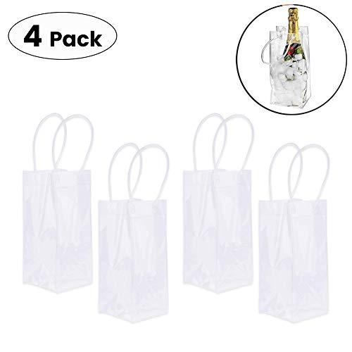 RENNICOCO 4 Stück tragbare zusammenklappbare Klareis Wein Tasche Kühltasche mit Griff für Party, Outdoor, Champagner, kaltes Bier, Weißwein, gekühlte Getränke