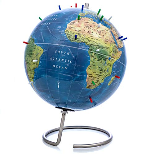 Bullseye Office - Magnetic World Globe (Lacquer Finish) - 10' Magnetic Standing World Globe with Magnetic Pins - Perfect as Office Desk Globe, Classroom Globe, or Travelers Globe (Topographic)