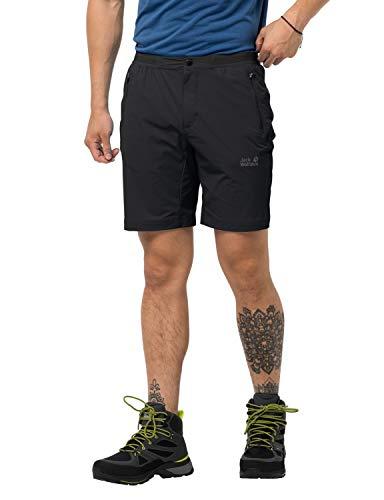 Jack Wolfskin Pantaloni Corti da Uomo, ad Asciugatura Rapida, Modello Trail, Uomo, Pantaloni Corti da Trekking ad Asciugatura Rapida, 1505951-6000054, Nero, 54