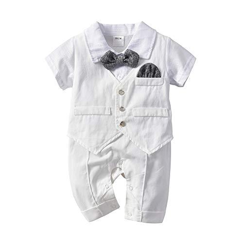 Tancurry Gentleman Weiß Baby Jungen Anzüge Hochzeit Festanzug Strampler Strampelanzug Taufkleidung, Weiß, 80cm