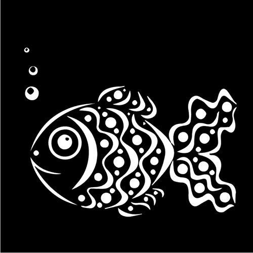 ZEEKYLY 10CM * 17.6CM Nette Goldfisch-Auto-Abziehbild-Familien-Auto-seitliche Tür-Aufkleber Schwarzes/Weiß - Weiß
