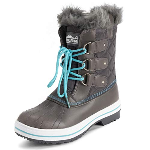 POLAR Womens Mid Padded Thermal Durable Rubber Sole Waterproof Winter Snow Faux Fur Boots - Grey/Blue - EU39/US8 - YC0638
