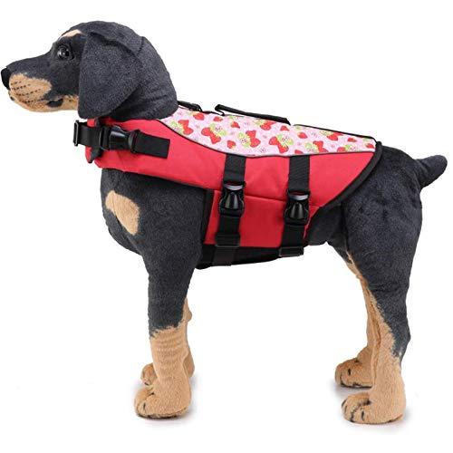 Chaleco salvavidas para perro con alta visibilidad y asa de rescate – Chaleco salvavidas para perro en la playa, piscina, barco, salvavidas de seguridad, salvavidas, color rojo, S