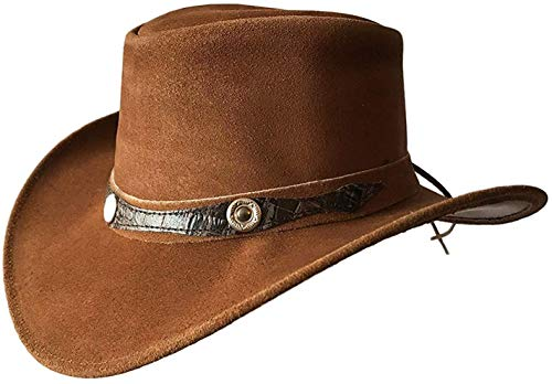 BRANDSLOCK Sombrero de Estilo Vaquero Australiano de ala Ancha de Estilo para Hombre (Marron, S)