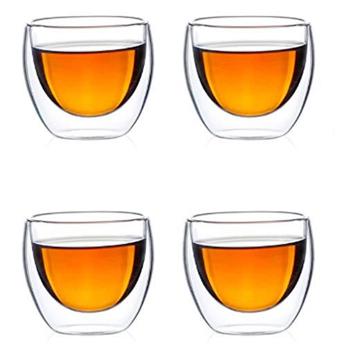 Lot de 4 tasses à café en verre à double paroi isolées résistantes à la chaleur 80 ml