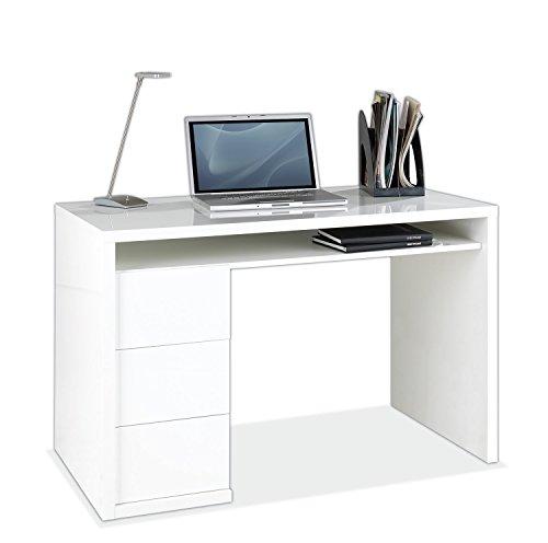 Schreibtisch Computertisch Arbeitstisch   Weiß Hochglanz