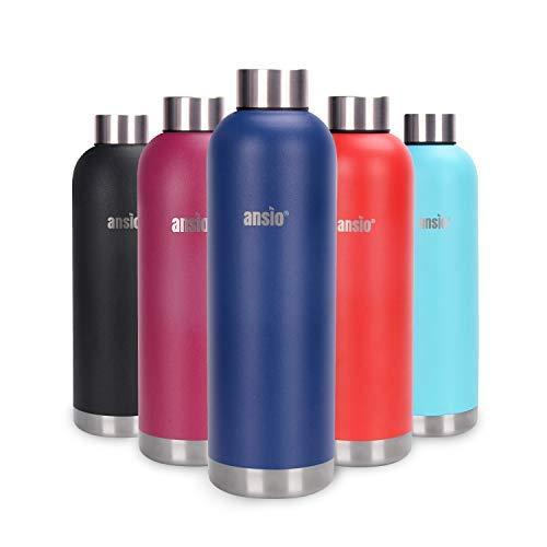 ANSIO Botella de Agua, Frasco de vacío y Botella de Agua de Acero Inoxidable Botella de Bebidas con Aislamiento Doble Pared Botella de Agua Caliente y fría sin BPA al Aire Libre - 750ML -Azul oscuro