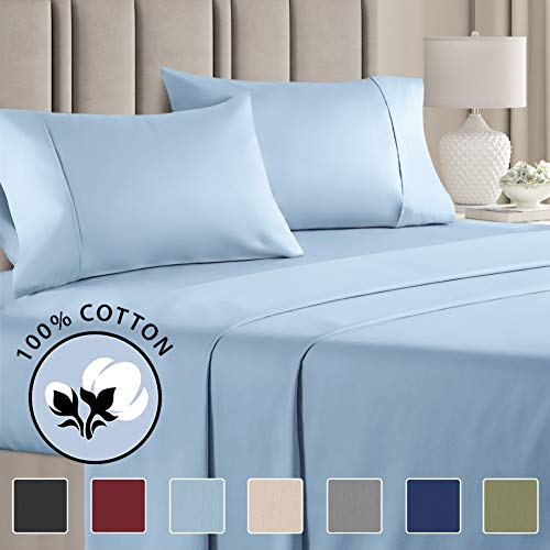 100% Cotton Full Sheets Blue (4pc) Silky Smooth, Cooling 400 Thread Count Long Staple Combed Cotton Full Sheet Set – 400TC High Thread Count Full...