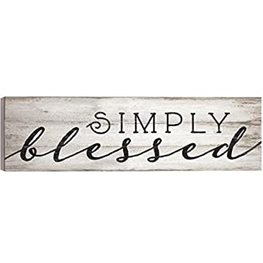 Simply Blessed Distressed White 36 x 11 Inch Solid Pine Wood Boxed Pallet Wall Plaque Sign