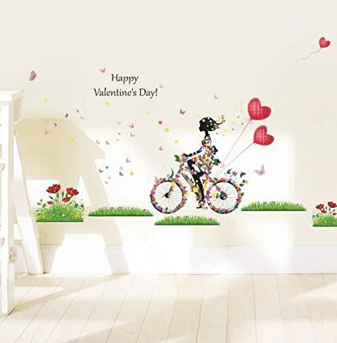 vinilos de pared decorativos Recién llegado feliz día de San Valentín. Globos de colores en la bicicleta de la niña en la pared. Cartel de bricolaje en la pared de la habitación. 135 * 80 cm