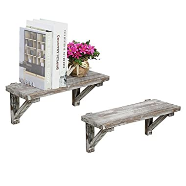 Rustic Torched Wood Wall-Mounted Storage Display Shelves with Wooden Brackets, Set of 2