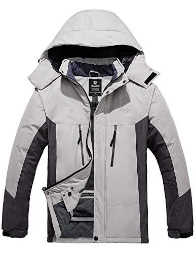 Wantdo Men's Waterproof Skiing Jacket Warm Winter Fleece Coats Raincoat Outdoor Parka Gray XL