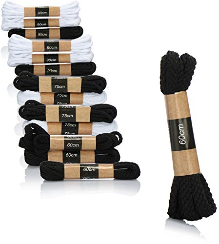 COM-FOUR® 14x schoenveters, witte en zwarte schoenveterparen, zowel voor sneakers als voor kinder-, heren- en damesschoenen, veters in drie maten