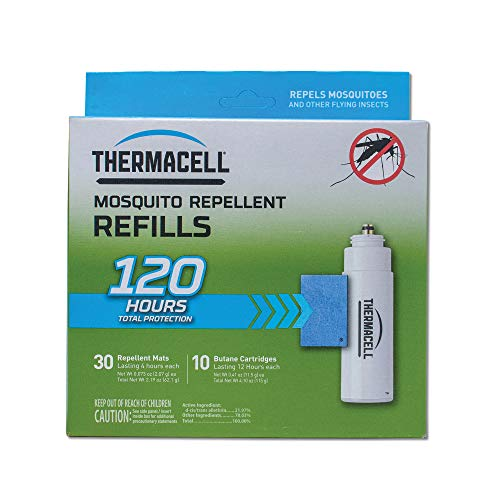 Thermacell Mosquito Repellent Refills; Provide 120 Hours of Protection; Contain 30 Repellent Mats, 10 Fuel Cartridges; Compatible with Any Fuel-Powered Thermacell Mosquito Repeller Product; Scent Free