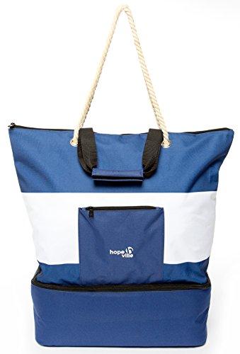 Hopeville große XXL Strandtasche mit Reißverschluss und integrierter Kühltasche, Wasserabweisende Familien Picknicktasche im Marine-Look für Urlaub, Picknick und Shopping (Blau-Weiß)