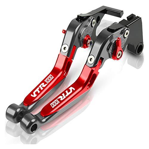 Kit De Embrague Palancas para HO┐NDA VTR1000 Accesorios De Motocicleta Freno De Mano Plegable CNC Palanca Freno De Embrague Expandible Ajustable Cubre Puños del Manillar Pit Bike (Color : E)