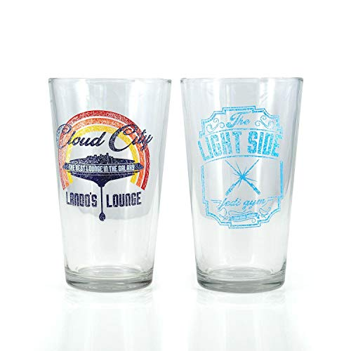 Star Wars Pint Glass Set | Lando's Lounge & Jedi Gym Pint Glasses | Set of 2