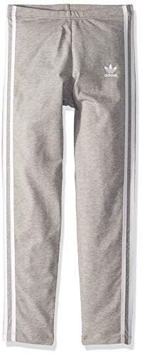 adidas Originals Girls' Big 3-Stripes Leggings, Medium Grey Heather/White, X-Small